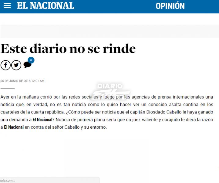 Pienso cambiarle el nombre a El Nacional — Diosdado Cabello