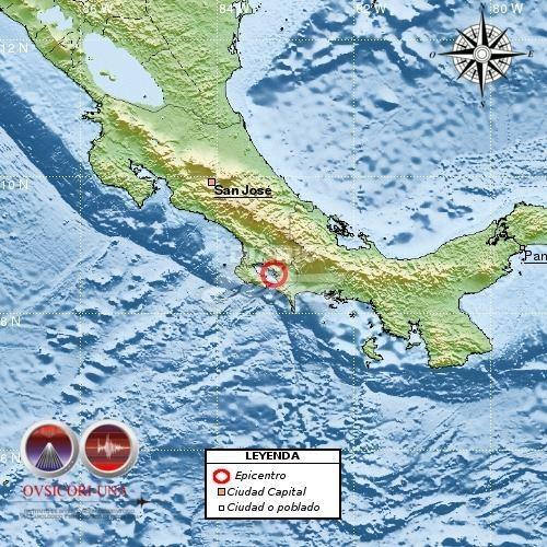 Se registra sismo de 5.7 en el sur de Costa Rica